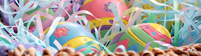 Easter eggs in basket poster template
