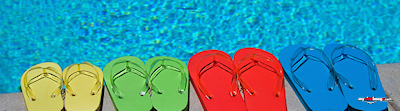 Summer colored flip-flops poster template